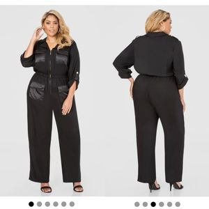 ASHLEY STEWART Blck Satin Pocket Military Jumpsuit